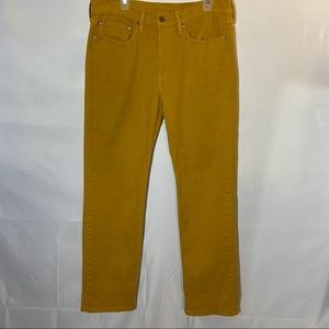 Levi's 514 Jeans 34 32 Mustard Yellow Stretch